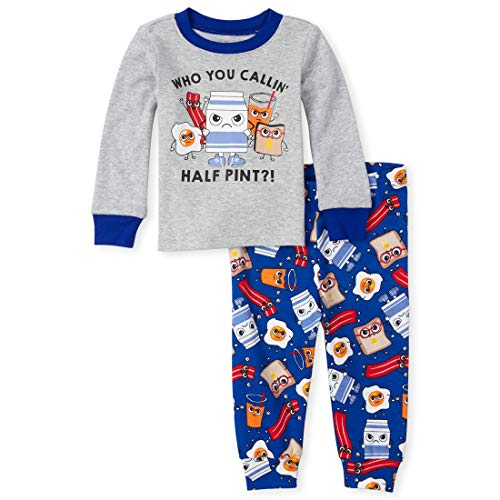 The Children's Place Baby Boys Two Piece Pajama Set, Heather/T Lunar, 3-6MONTHS