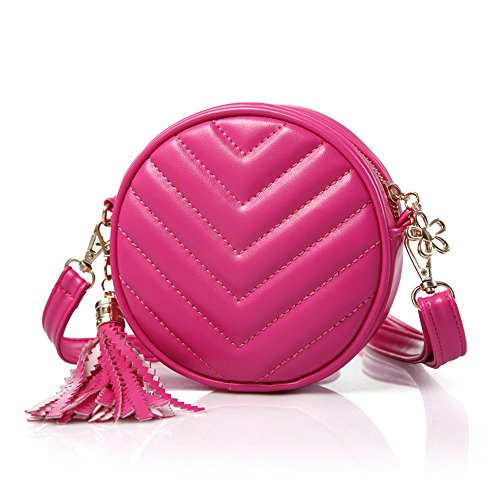 Girls Handbag Purse (Pinky Family Girls' Purse Cute Handbag Small Shoulder Bag Cross Body Bag Kids Messenger Bag Rose Red)