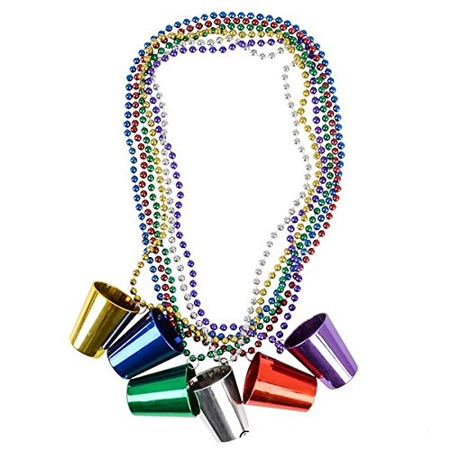 Party Beads Necklaces With Super Sized Charms 1 Dozen Bulk Pack, Includes 12 Necklaces With Shot Glass Charms, Assorted Colors - Parade Beads - Party Favors - Bulk Toys - (Buy Mardi Gras Beads In Bulk)