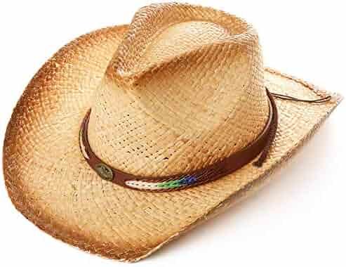 8c8f2ce4f3a0d7 Jeff & Aimy Western Outback Cowboy Straw Hat Shapeable Brim w/Chin Strap