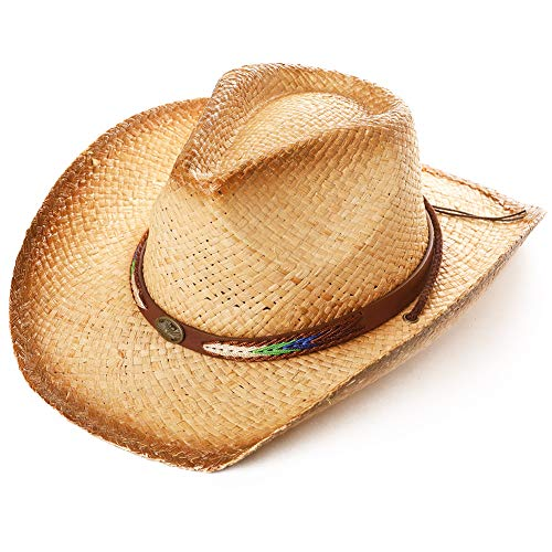 Jeff & Aimy Mens Womens Western Aussie Outback Leather Cowboy Cowgirl Straw Hats Wide Brim with Chin Strap Beige 56-59CM