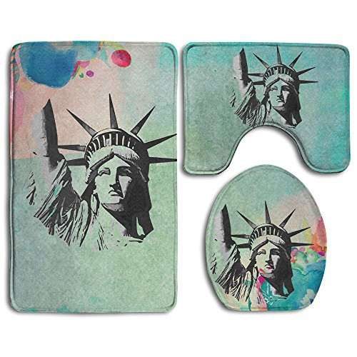 Statue Of Liberty Football Skidproof Toilet Seat Cover Bath Mat Lid Cover -