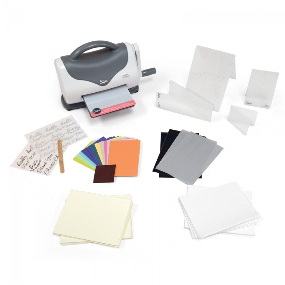 Sizzix Texture Boutique Embossing Machine Starter Kit, White & Gray