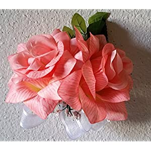 Coral Reef Silk Rose Corsage or Boutonniere 14