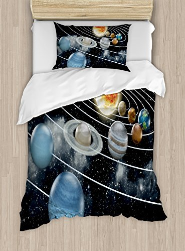 Galaxy Duvet Cover Set Twin Size by Ambesonne, Solar System All Eight Planets and the Sun Pluto Jupiter Mars Venus Science Fiction, Decorative 2 Piece Bedding Set with 1 Pillow Sham, Black Grey by Ambesonne