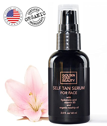 By Fake Bake Sunless Self Tanning Lotion (Self Tanner For Face - Anti Aging Sunless Tanning Serum w/Hyaluronic Acid Organic Oils & Vitamin B5 - Non Comedogenic Fake Tan Facial Bronzer w/FREE BONUS eBrochure For Sunkissed Glow - 2.0 fl)