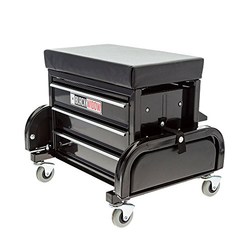 (Black Widow Toolbox Creeper Seat with Drawers)