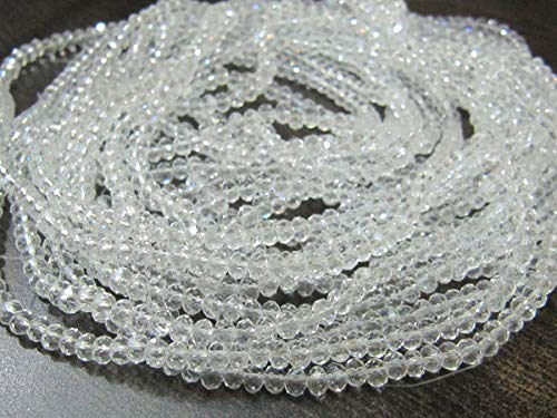 Crystal Quartz Hydro Quartz 3mm Rondelle Faceted Beads 150 Beads Per Strand