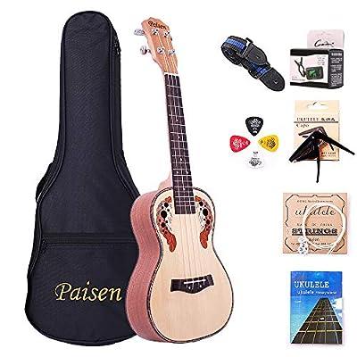Paisen Ukulele Spruce Hawaii Concert Ukulele Small Guitar with Tuner Capo Thick Bag for Ukulele Beginners