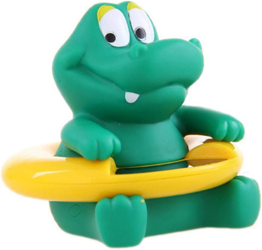 Thermom/ètre de bain b/éb/é mignon forme crocodile doux animal infantile flottant baignoire et piscine Thermom/ètre testeur de temp/érature jouet pour b/éb/é vert