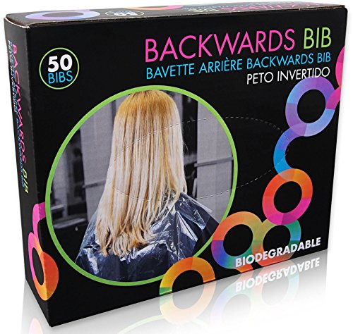 Bib Stock Tie - Framar Backwards Bib - 50 Bibs - Protects Salon Chair & Capes from Hair Dye, Hair Color, Hair Bleach