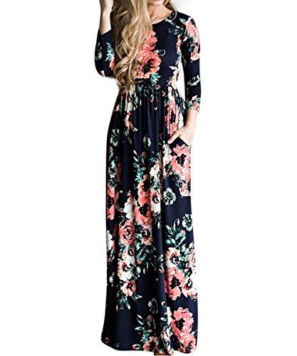 (YUMDO Women's Long Sleeve Floral Print Crew Neck Dress Autumn Winter Maxi Dresses Dark Blue S)
