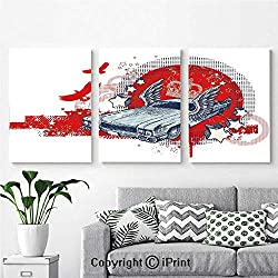 Canvas Prints Modern Art Framed Wall Mural Abstract Illustration Hand Drawn Winged Crowned Vintage Style Car Birds and Stars for Home Decor 3 Panels,Wall Decorations for Living Room Bedroom Dining R