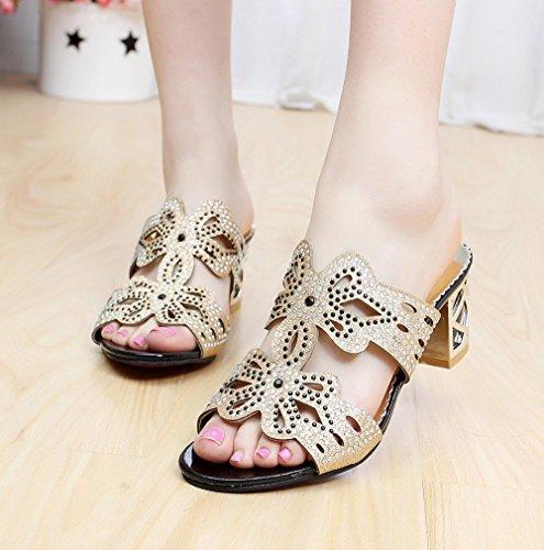 Mine tom Mujeres Forme Zapatos Imitación Diamante Verano Sandalias Flor De Mariposa Dedo Pío Los Deslizadores Negro A