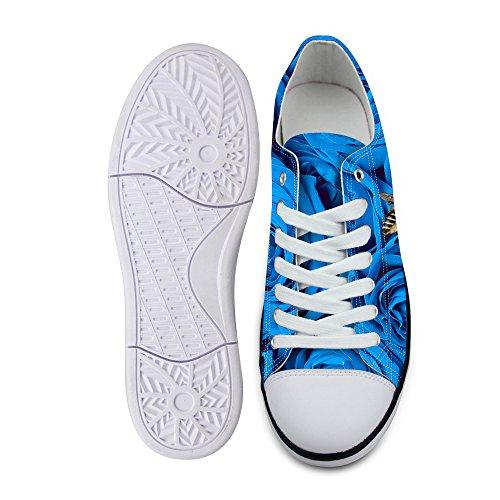 Lace Casual Women's DESIGNS U Top Canvas Low Blue up 1 Comfort Sneaker Fashion Stylish flower FOR AcqXSnWqT