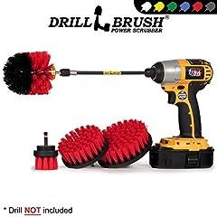 The Drillbrush Stiff Bristle Cleaning kit includes: The Original Drillbrush Power Scrubber (Red and Black stiff model). One 2 inch diameter stiff brush, a 4 inch flat round stiff scrub brush and a 5 inch diameter stiff large surface brush. Do...