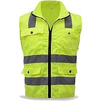 Chaleco de Seguridad de Alta Visibilidad Chaleco higiénico Amarillo Fluorescente Ajustable Chaleco de protección de Seguridad para Montar en automóvil