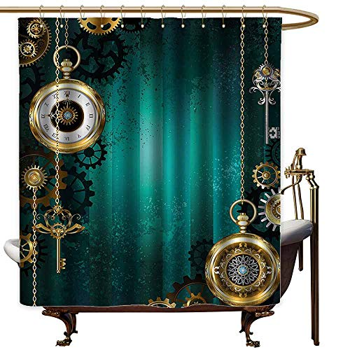 Shower Curtains White with Black Industrial,Antique Items Watches Keys and Chains with Steampunk Influences Illustration,Multicolor,W48 x L72,Shower Curtain for Kids