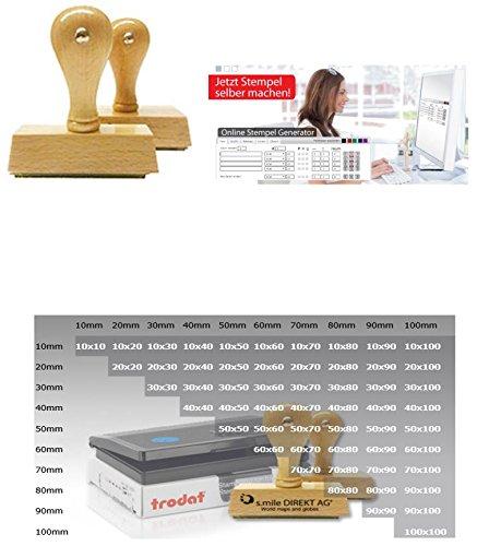 Individueller Holzstempel Probieraktion: Stempel selbst online gestalten - geosmile Marken Stempel (Textstempel / Logostempel / Motivstempel / Firmenstempel / Adressstempel) (40x60 mm)