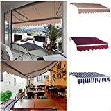 Z ZTDM Retractable Patio Awnings and Canopies (Three Styles) for Doors and Alfresco Dining, Sunshade / Waterproof / Heavy Duty, 13' X 10'(4 x 3M)