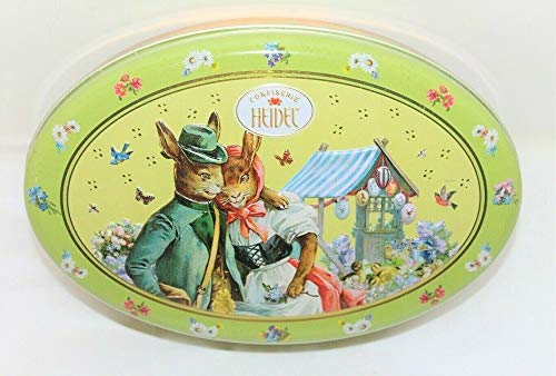 Heidel Easter Nostalgic Tin Filled Assorted Praline Chocolates - Milk Chocolate Filled Praline Creams, 7.5 Oz