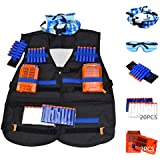 Tactical Nerf Vest Accessories Set for Nerf N-Strike Elite Series with 20 Refill Darts, 2 Quick Reload Clips, Wrist Ammo Holder, Safety Glasses, and Tube Mask by Fury Strike