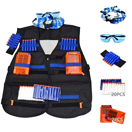 (Tactical Vest Accessories Set for Nerf N-Strike Elite Series with 20 Refill Darts, 2 Quick Reload Clips, Wrist Ammo Holder, Safety Glasses, and Tube Mask)