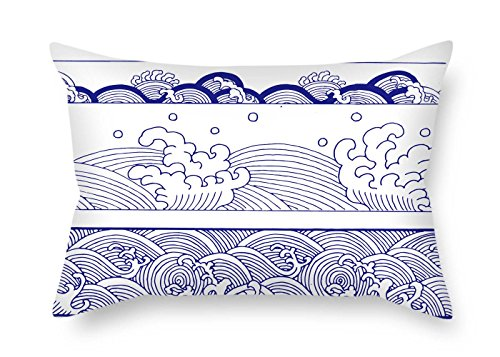christmas-gift Cushion Cases of Chinese Style Blue and White Porcelain 18 X 26 Inches / 45 by 65 cm Best Fit for Drawing Room Dining Room Indoor Car Seat Office Twin Sides