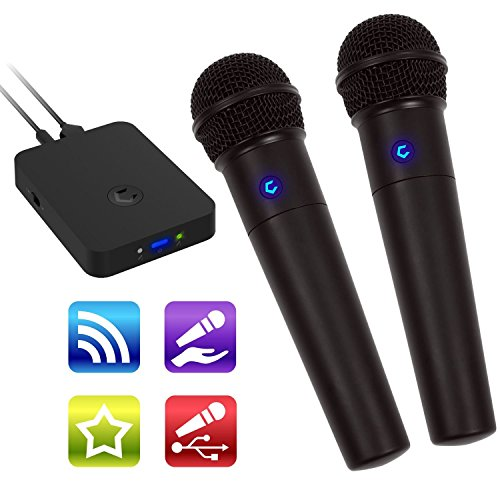 Cdg System Portable Karaoke (Cobble Pro Wireless Karaoke Microphone 2-Pack Mic [Source Vocal Removal Technology][Choose Unlimited Music Source from YouTube, Compatible with iPhone iPad Phone Tablet] New Model BT Speaker Machine)