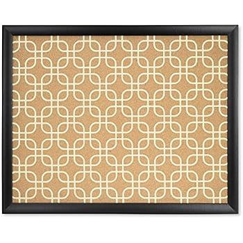 U Brands Cork Bulletin Board, 20 x 16 Inches, Black Wood Frame, Fashion Design Print
