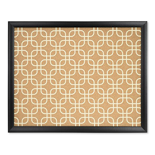 (U Brands Cork Bulletin Board, 20 x 16 Inches, Black Wood Frame, Fashion Design Print)