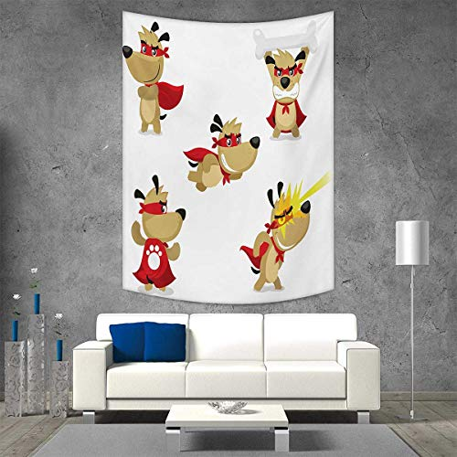 smallbeefly Dog Home Decorations for Living Room Bedroom Superhero Puppy with Paw Costume and Mystic Powers Laser Vision Supreme Talents Wall Art Home Decor 70W x 84L INCH Red Cream White