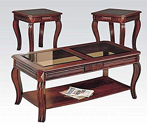 3 Piece Occasional Cherry Table Set with Glass by Acme Furniture ()