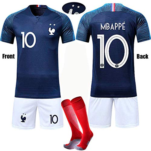 France Football Shirt 2018 MBAPPE #10 Kids Soccer Jerseys 2 Stars T-Shirt Short Color ()
