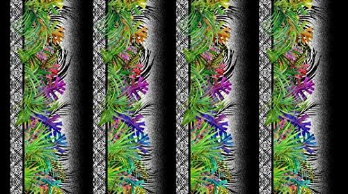 Safari Jungle Plants and Floral Garden Floral Cotton Fabric Stripes