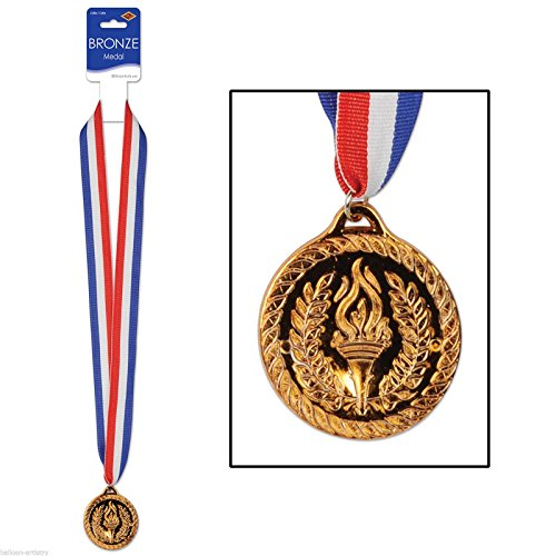 Bronze Medal w/Ribbon Party Accessory (1 count) - Awards Gold Medal