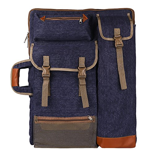"Transon Art Portfolio Case Artist Backpack Canvas Bag Large 26"" x 19.5"" Navy Blue by Transon"