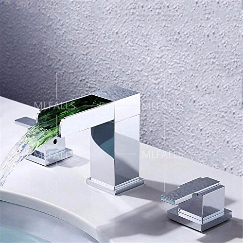 Modern Double Handle Fixture - Bathroom Sink Faucet Modern   chrome-plated brass LED temperature change   square double handle   three holes   ceramic valve waterfall basin faucet three-piece