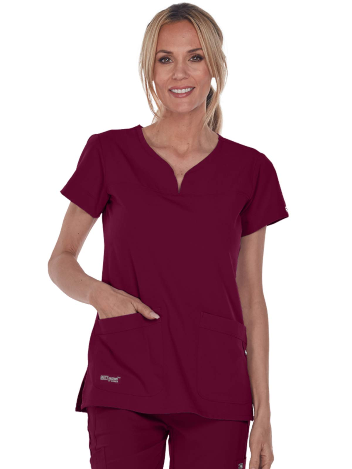 Grey's Anatomy Signature 2121 Notch Neck Top Wine 3XL
