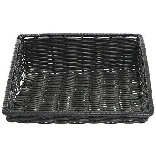 - Wicker Look Tapered Storage Basket, Rectangular Black- 15 1/2 L x 18