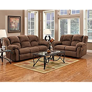 Roundhill Furniture Aruba Microfiber Dual Reclining Sofa And Loveseat Chocolate