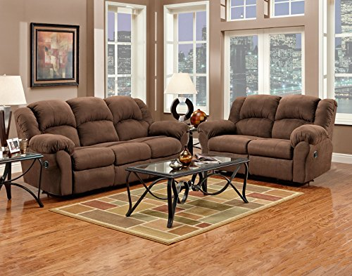 Roundhill Furniture Aruba Microfiber Dual Reclining Sofa and Loveseat, Chocolate