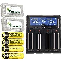 Combo: Xtar DRAGON VP4 Plus -4 Port Charger w/4x NL186 Batteries +2x Free Eco-Sensa Battery Cases