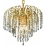 Elegant Lighting 6801D14G/RC Falls 12-Inch High 4-Light Chandelier, Gold Finish with Crystal (Clear) Royal Cut RC Crystal
