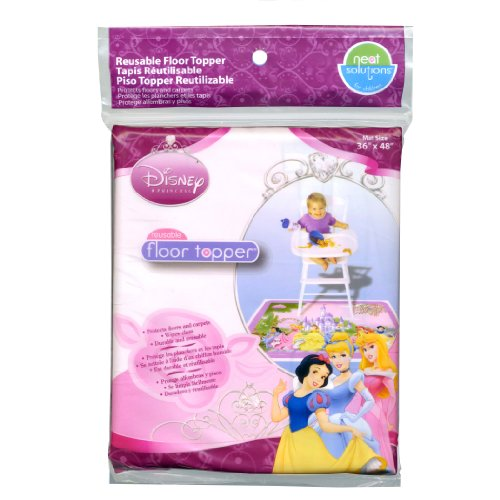 Neat Solutions Disney Princess Reusable Floor Topper for Meal and Play - Durable Vinyl Mat Protects Floors and Carpets - BPA and PVC Free - Size 36 x 48 Inches