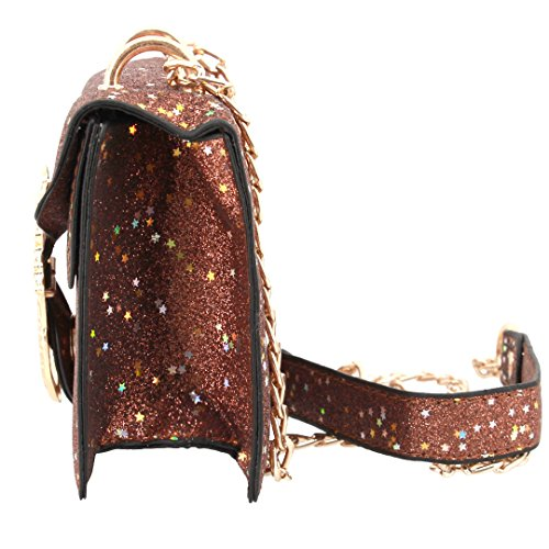 Womens Coffee Gabrine Party Handbag Dailywear Clutch Bag Shoulder 00367 Evening Wedding Crossbody Purse Sequin for aqAdSqw