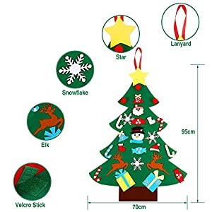 TruenoCielo, DIY Christmas Tree Wall Hanging, 3.2ft DIY Tree with 25 Pcs Ornaments Wall Decor with Hanging Rope for Children's Day Gifts Home Door Wall Decoration