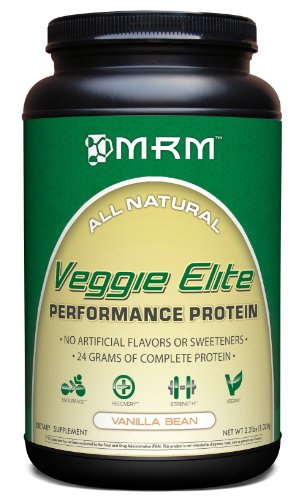 MRM - Veggie Elite Performance Protein, 24 Grams of Plant-Based Protein, Soy-Free, Vegetarian & Vegan Friendly, Non-GMO Project Verified (Vanilla Bean, 2.2 lbs)