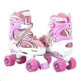 Adjustable Pink Quad Roller Skates For Kids Comfortable Indoor Or Outdoor Use Medium Size