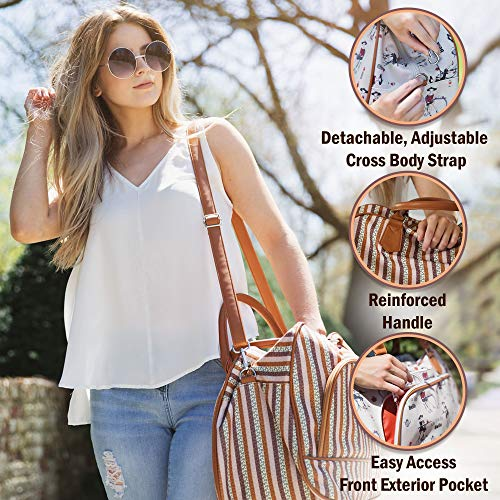 Canvas Weekender Bags For Women: Travel Duffle Tote Bag. Elegant Weekend/Overnight Travel Bag Or Totes - Extra Large 20'' by 13'' by Summerease (Image #3)